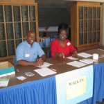 Registration desk at the Carolina Blood Drive
