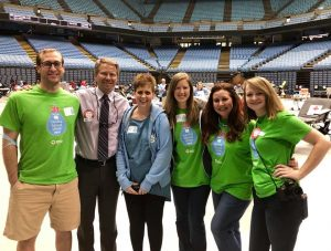 Chancellor Kevin Guskiewicz with members of the blood drive committee at the Smith Center