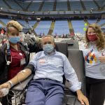 Bubba Cunningham giving blood at the 33rd Carolina Blood Drive