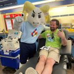 Ramses with a power red donor at the 33rd Carolina Blood Drive